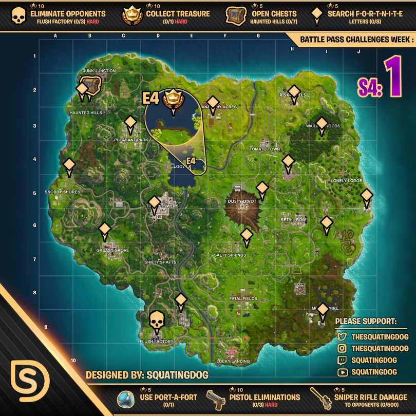 season 4 week 1 challenges cheat sheet map 810x810 - Fortnite: Mapa de la Hoja de Trucos de Battle Royale para la temporada 4, Desafíos de la semana 1