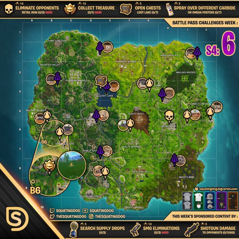 week 6 cheat sheet by squatting dog 810x810 - Fortnite Battle Royale: Desafíos y Ubicaciones de la Temporada 4 Semana 6