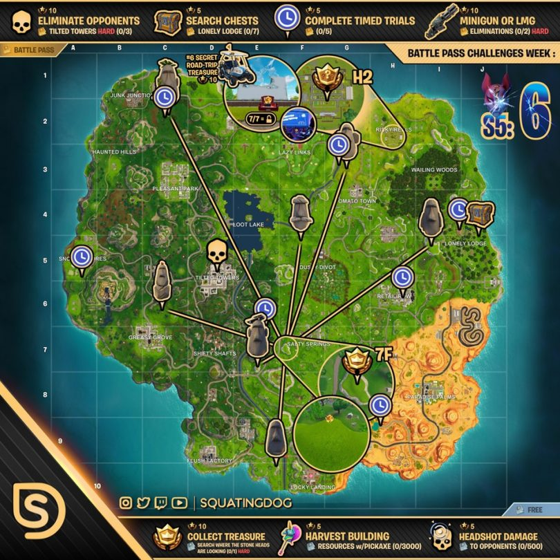 Fortnite Cheat Sheet Map Season 5 Week 6 810x810 - Fortnite Battle Royale: Desafíos para la semana 6 de la temporada 5